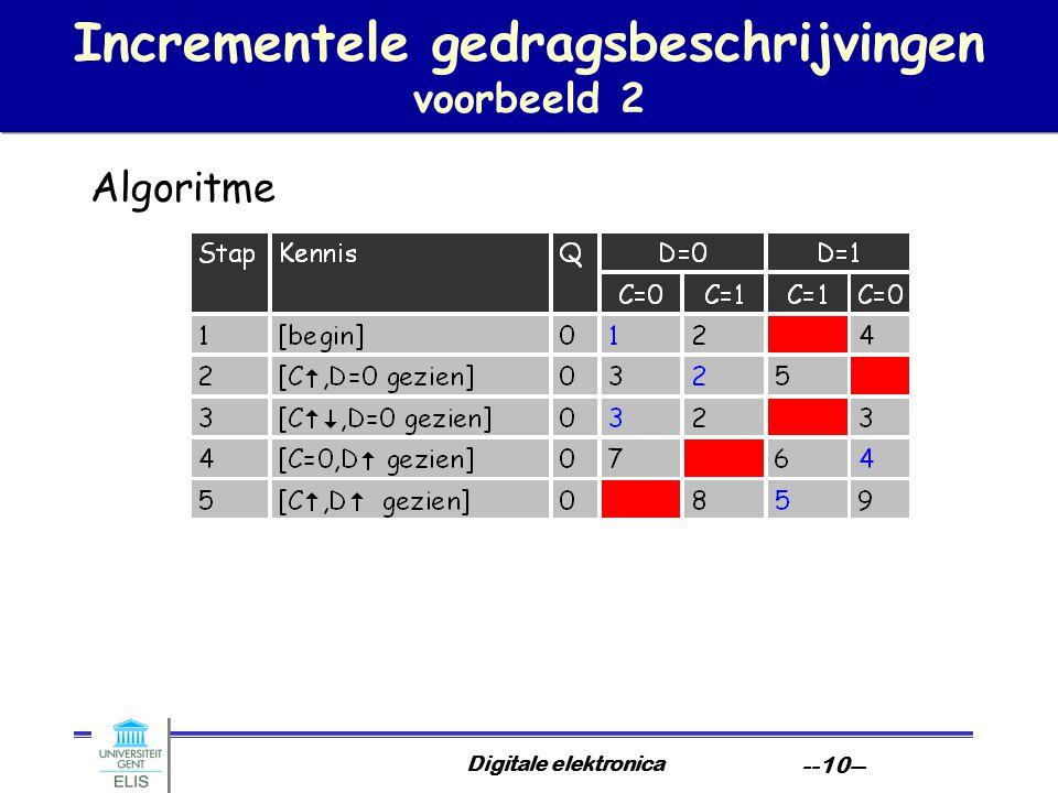 Digitale elektronica --10-- Incrementele gedragsbeschrijvingen voorbeeld 2 Algoritme