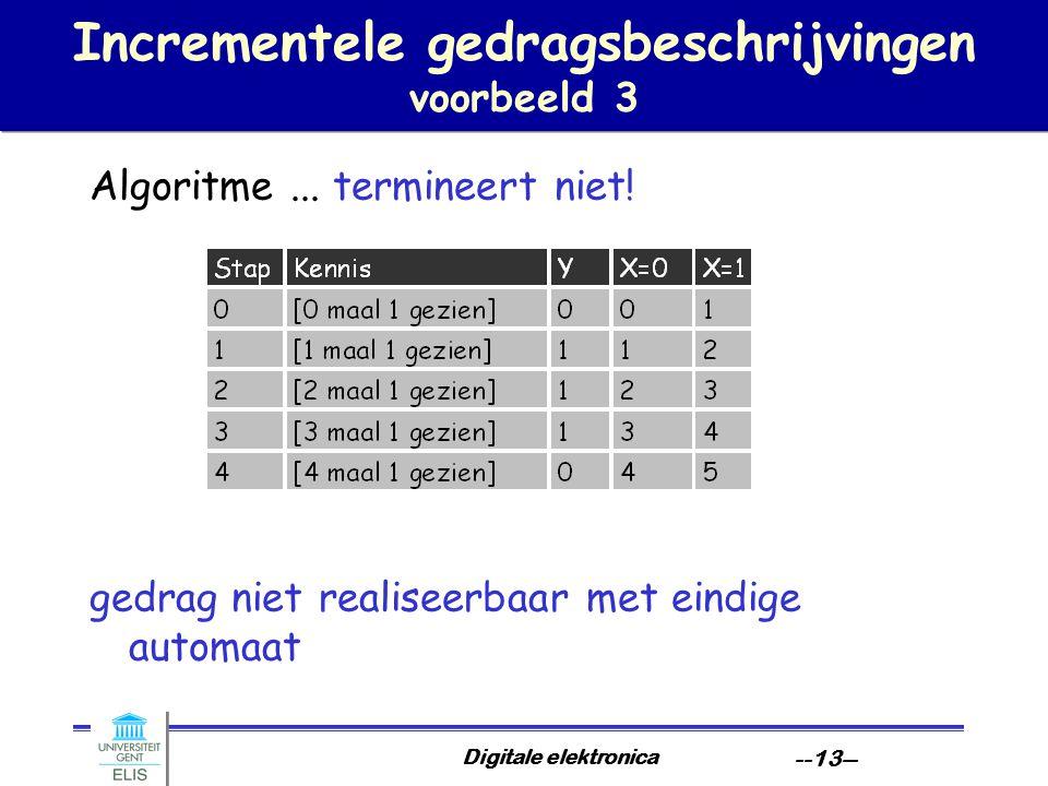 Digitale elektronica --13-- Incrementele gedragsbeschrijvingen voorbeeld 3 Algoritme... termineert niet! gedrag niet realiseerbaar met eindige automaa