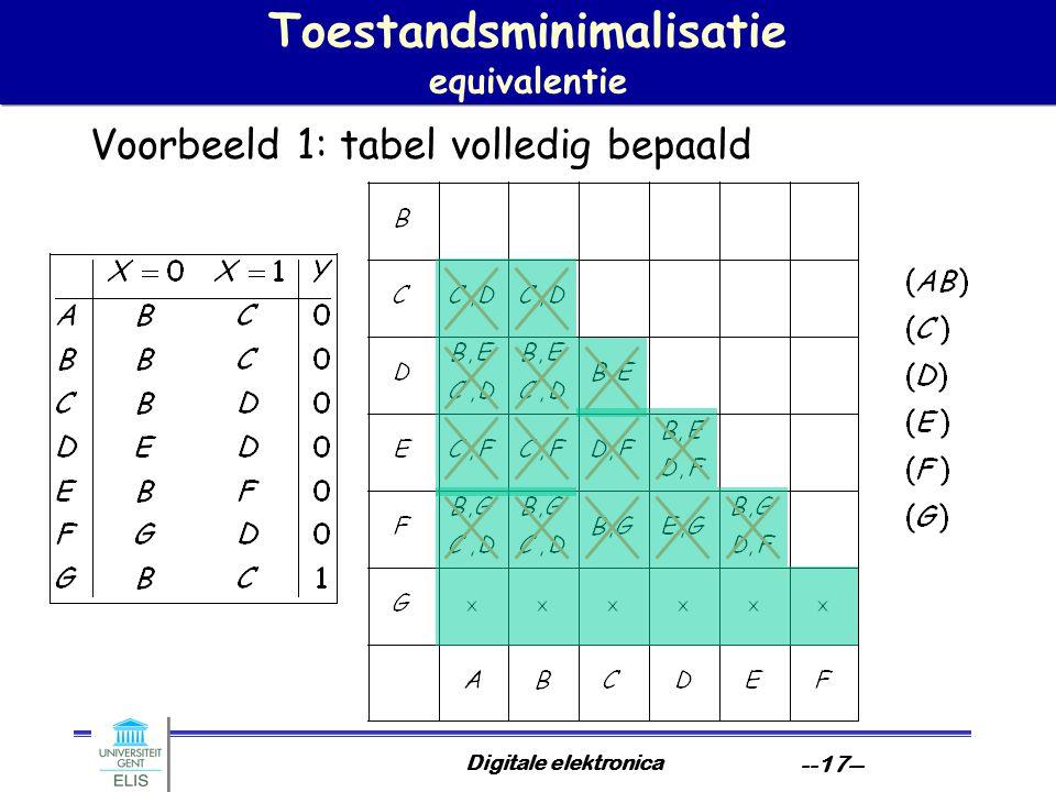 Digitale elektronica --17-- Toestandsminimalisatie equivalentie Voorbeeld 1: tabel volledig bepaald