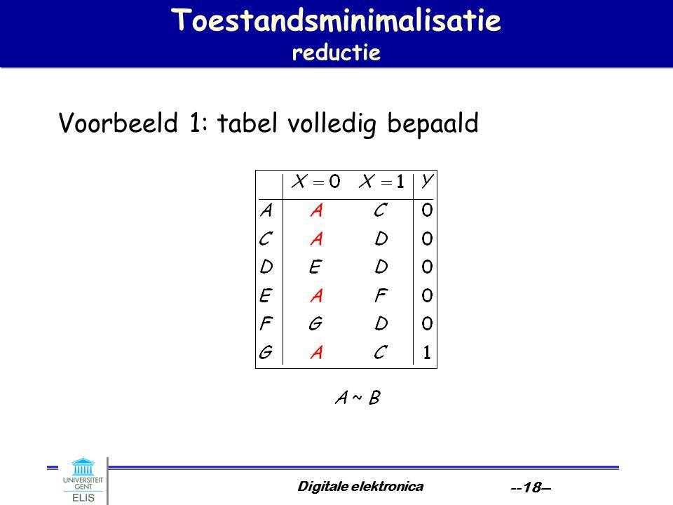 Digitale elektronica --18-- Toestandsminimalisatie reductie Voorbeeld 1: tabel volledig bepaald