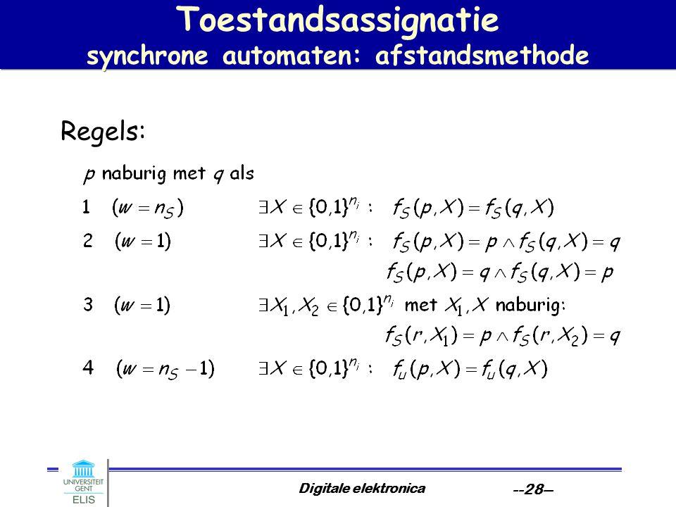 Digitale elektronica --28-- Toestandsassignatie synchrone automaten: afstandsmethode Regels:
