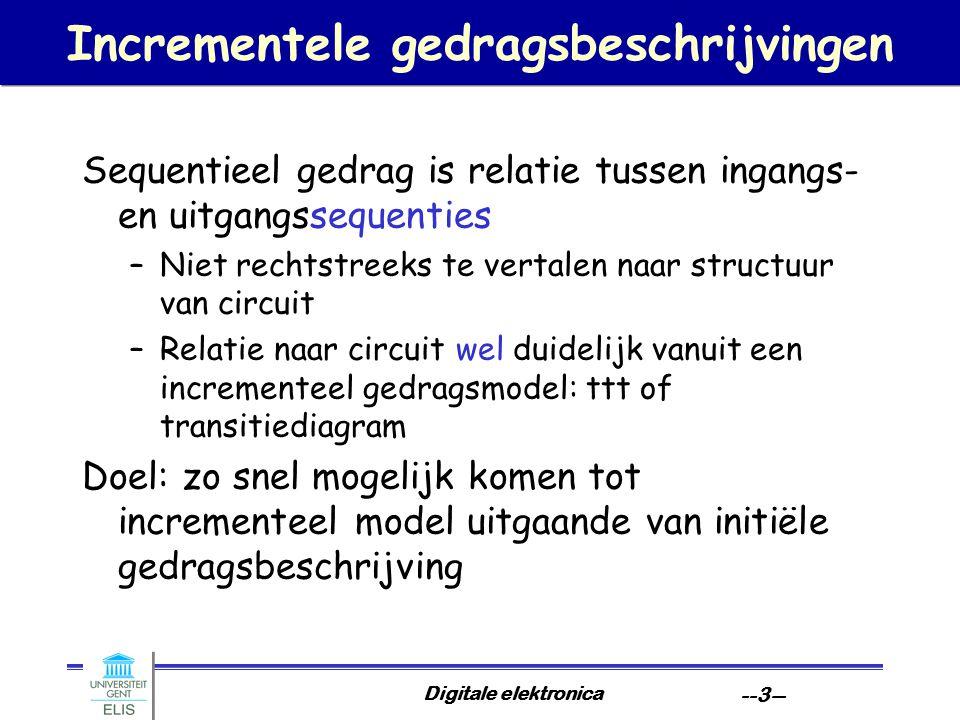 Digitale elektronica --3-- Incrementele gedragsbeschrijvingen Sequentieel gedrag is relatie tussen ingangs- en uitgangssequenties –Niet rechtstreeks t