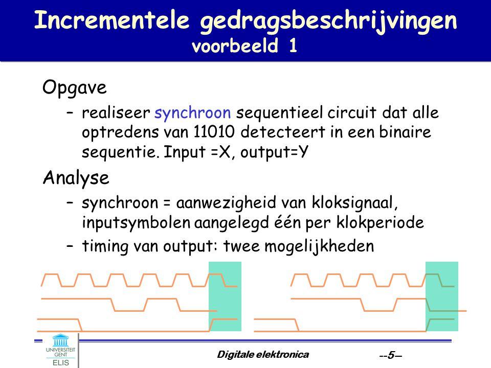 Digitale elektronica --5-- Incrementele gedragsbeschrijvingen voorbeeld 1 Opgave –realiseer synchroon sequentieel circuit dat alle optredens van 11010