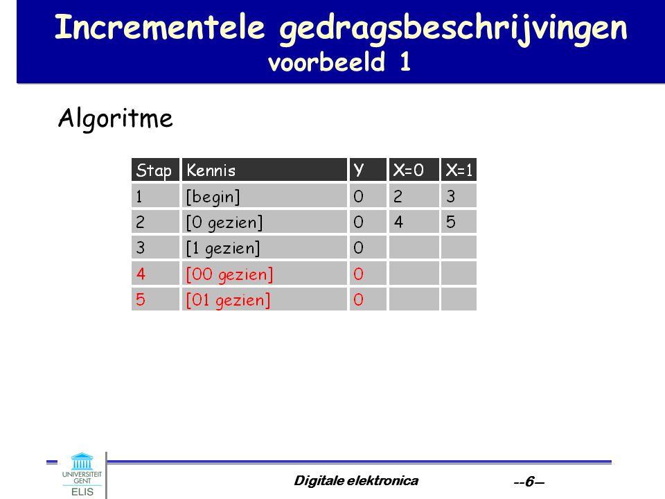 Digitale elektronica --6-- Incrementele gedragsbeschrijvingen voorbeeld 1 Algoritme