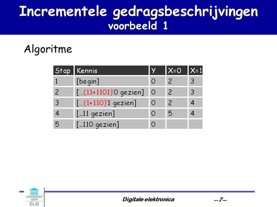 Digitale elektronica --38-- Toestandsassignatie zoeken naar stabiele partities: voorbeeld EG: (AEG)(CF)(D) DF: (AEG)(CDF) A,C C,D A,E C,F A,D A,G A,F C,G C,E D,F D,G E,F E,G F,G D,E