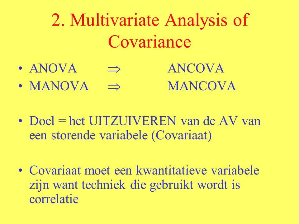2. Multivariate Analysis of Covariance ANOVA  ANCOVA MANOVA  MANCOVA Doel = het UITZUIVEREN van de AV van een storende variabele (Covariaat) Covaria