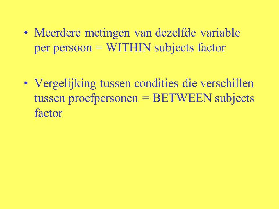 Meerdere metingen van dezelfde variable per persoon = WITHIN subjects factor Vergelijking tussen condities die verschillen tussen proefpersonen = BETW
