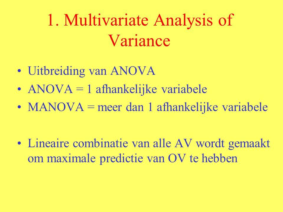 Resultaat van deze analyse is : –Een multivariate F-waarde : die de invloed van de OV bekijkt op de COMBINATIE van de AV –Bij 1 OV : slechts 1 multivariate F-waarde –Bij 2 OV : 2 hoofdeffecten 1 interactie multivariate F-waarde
