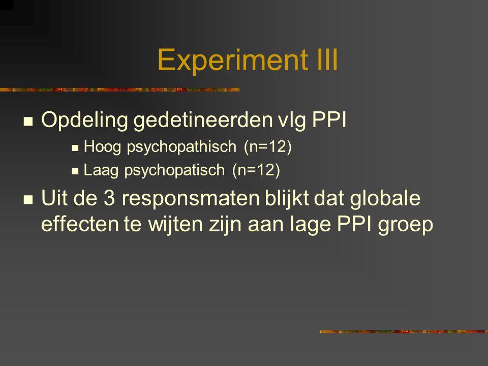 Experiment III Opdeling gedetineerden vlg PPI Hoog psychopathisch (n=12) Laag psychopatisch (n=12) Uit de 3 responsmaten blijkt dat globale effecten t