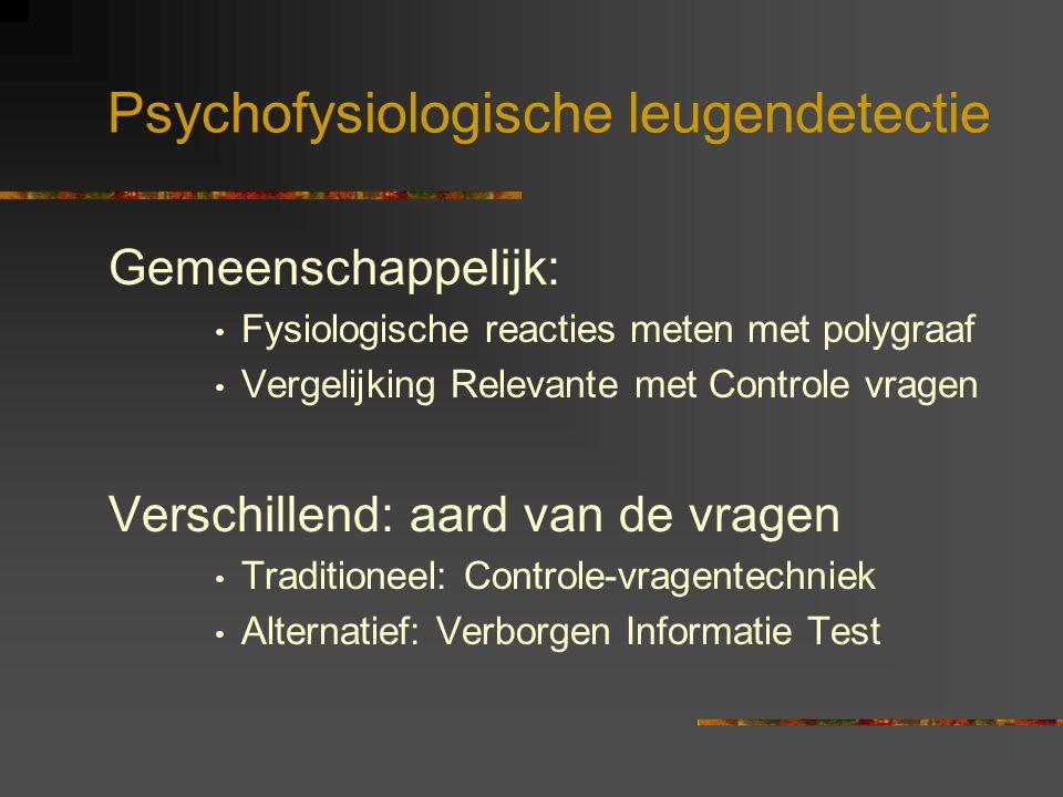 Psychofysiologische leugendetectie Gemeenschappelijk: Fysiologische reacties meten met polygraaf Vergelijking Relevante met Controle vragen Verschille