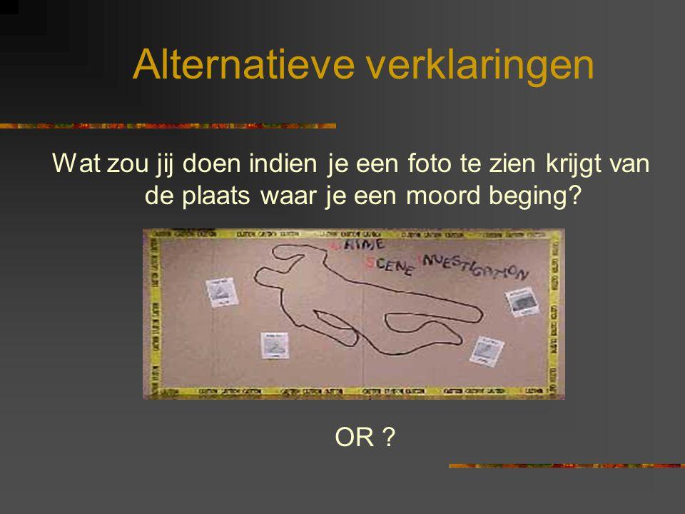 Alternatieve verklaringen Wat zou jij doen indien je een foto te zien krijgt van de plaats waar je een moord beging? OR ?