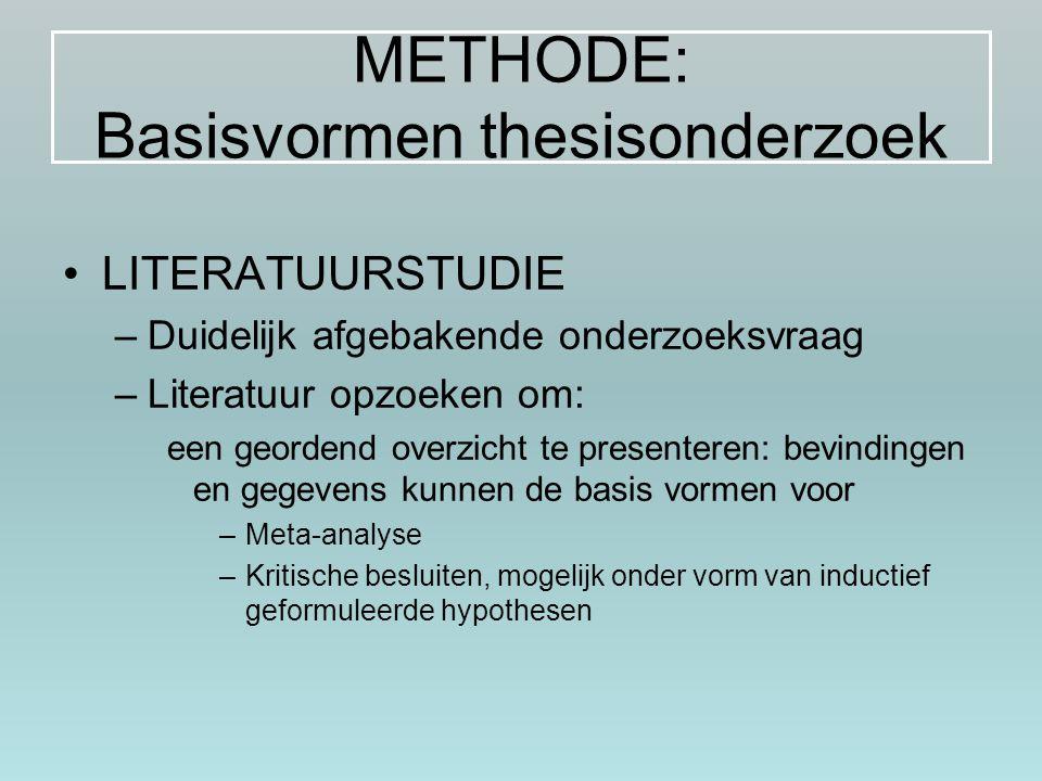 METHODE: Basisvormen thesisonderzoek LITERATUURSTUDIE –Duidelijk afgebakende onderzoeksvraag –Literatuur opzoeken om: een geordend overzicht te presen