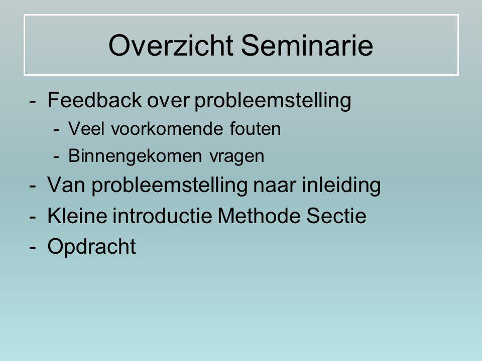 Overzicht Seminarie -Feedback over probleemstelling -Veel voorkomende fouten -Binnengekomen vragen -Van probleemstelling naar inleiding -Kleine introd