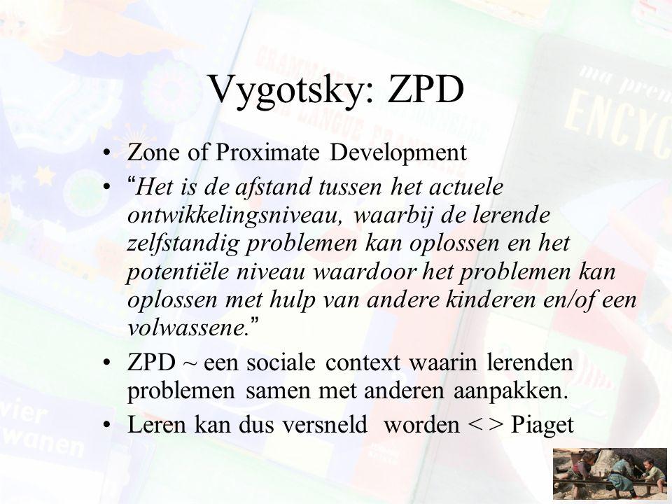 """Vygotsky: ZPD Zone of Proximate Development """"Het is de afstand tussen het actuele ontwikkelingsniveau, waarbij de lerende zelfstandig problemen kan op"""