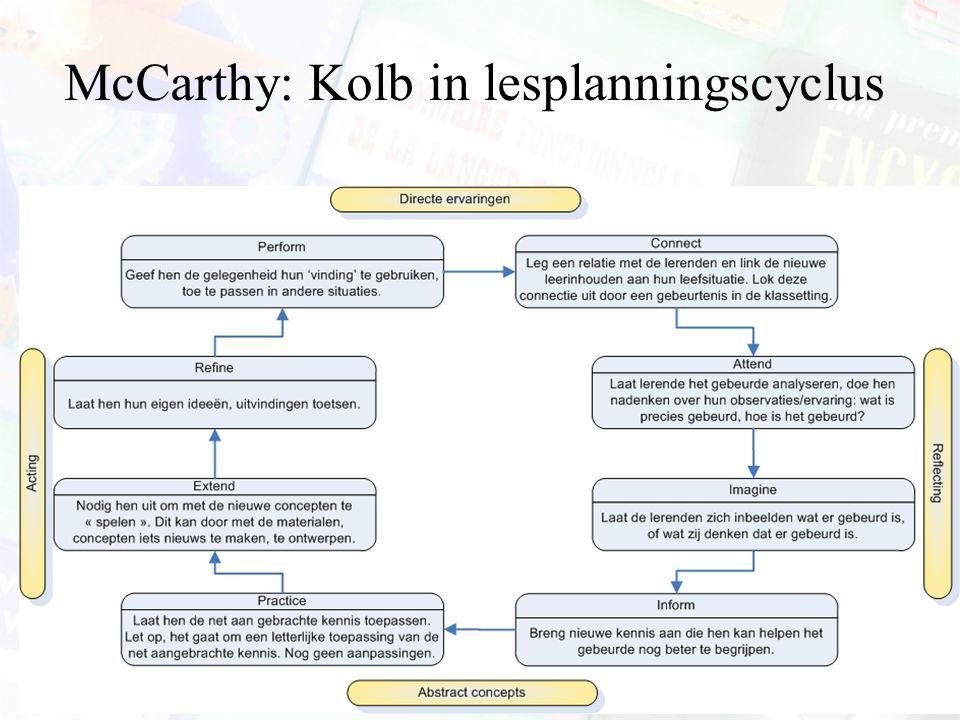 McCarthy: Kolb in lesplanningscyclus