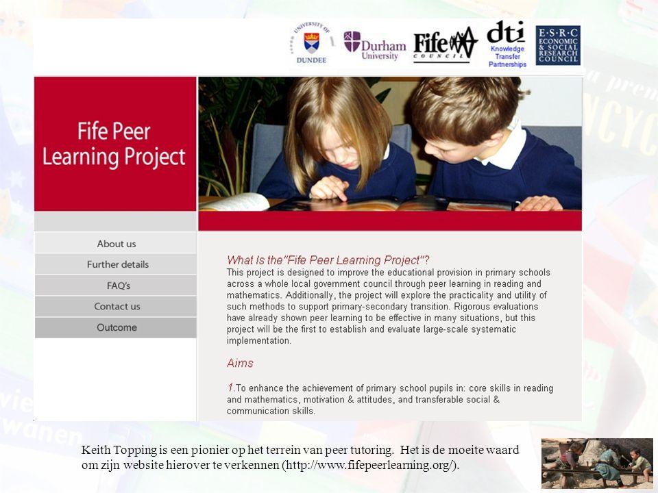 Keith Topping is een pionier op het terrein van peer tutoring. Het is de moeite waard om zijn website hierover te verkennen (http://www.fifepeerlearni