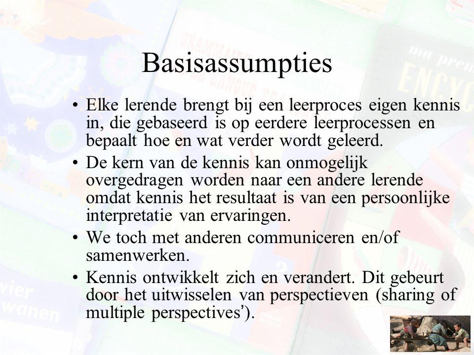 Basisassumpties Elke lerende brengt bij een leerproces eigen kennis in, die gebaseerd is op eerdere leerprocessen en bepaalt hoe en wat verder wordt g