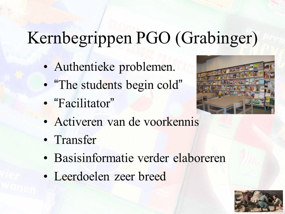 """Kernbegrippen PGO (Grabinger) Authentieke problemen. """"The students begin cold"""" """"Facilitator"""" Activeren van de voorkennis Transfer Basisinformatie verd"""
