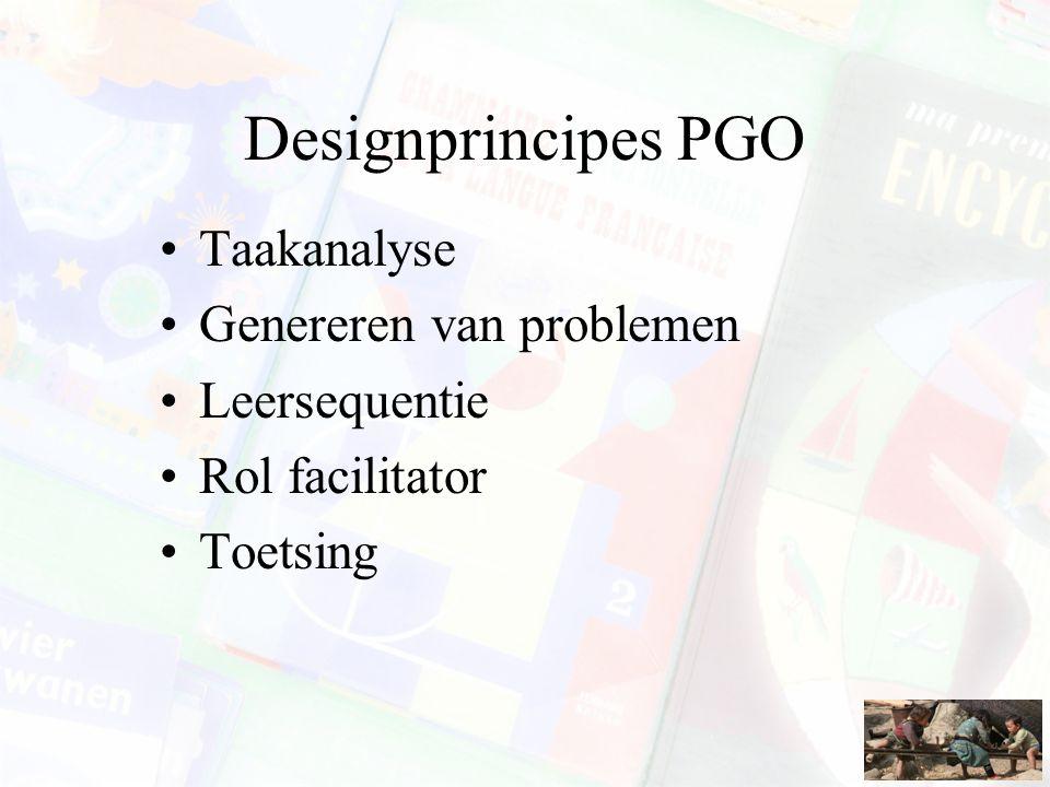 Designprincipes PGO Taakanalyse Genereren van problemen Leersequentie Rol facilitator Toetsing