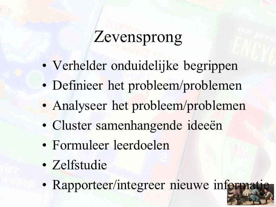 Zevensprong Verhelder onduidelijke begrippen Definieer het probleem/problemen Analyseer het probleem/problemen Cluster samenhangende ideeën Formuleer