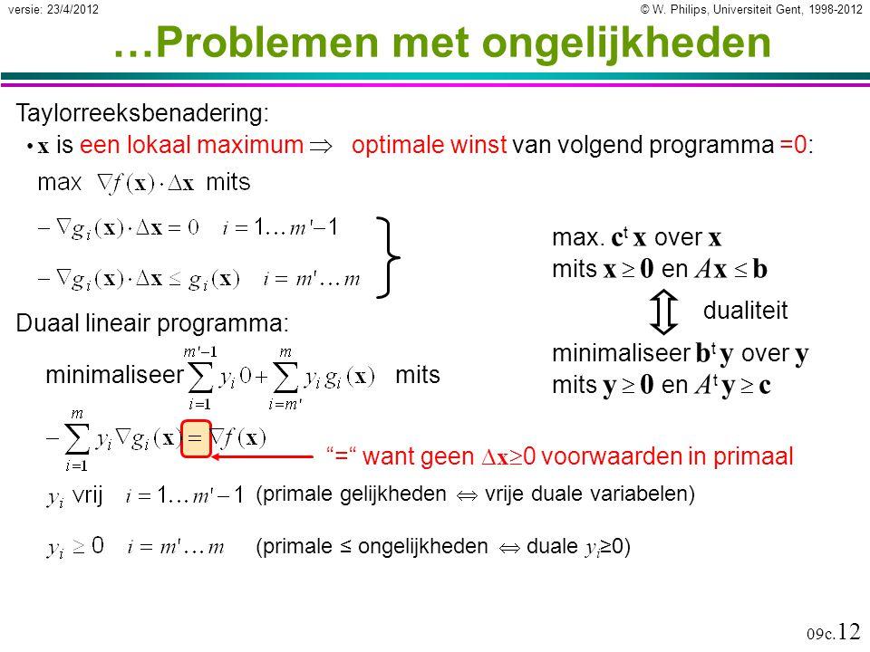 © W. Philips, Universiteit Gent, 1998-2012versie: 23/4/2012 09c. 12 Taylorreeksbenadering: x is een lokaal maximum  optimale winst van volgend progra