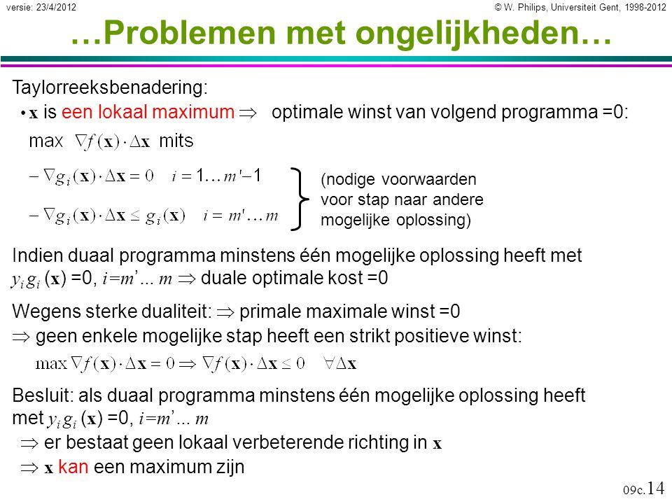 © W. Philips, Universiteit Gent, 1998-2012versie: 23/4/2012 09c. 14 …Problemen met ongelijkheden… Indien duaal programma minstens één mogelijke oploss