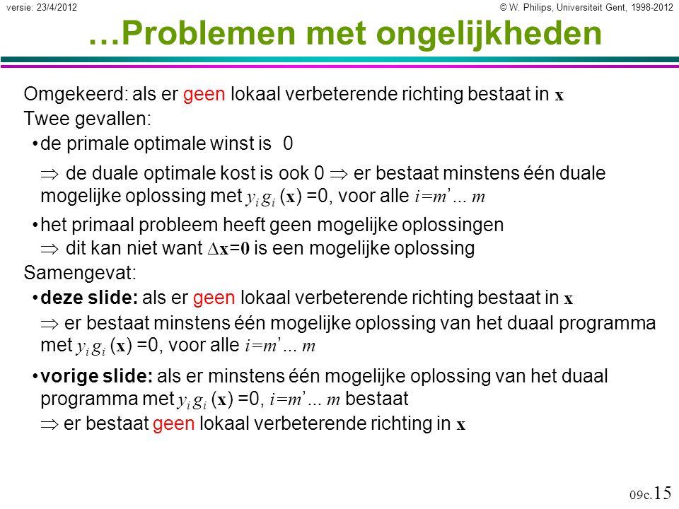 © W. Philips, Universiteit Gent, 1998-2012versie: 23/4/2012 09c. 15 …Problemen met ongelijkheden Omgekeerd: als er geen lokaal verbeterende richting b