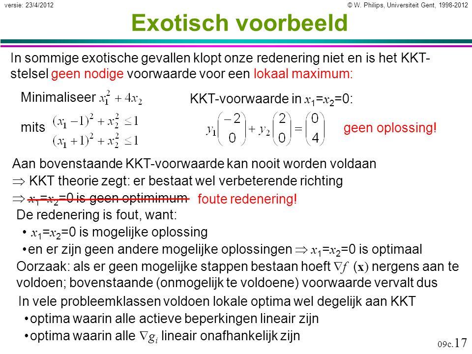 © W. Philips, Universiteit Gent, 1998-2012versie: 23/4/2012 09c. 17 Exotisch voorbeeld De redenering is fout, want: x 1 = x 2 =0 is mogelijke oplossin