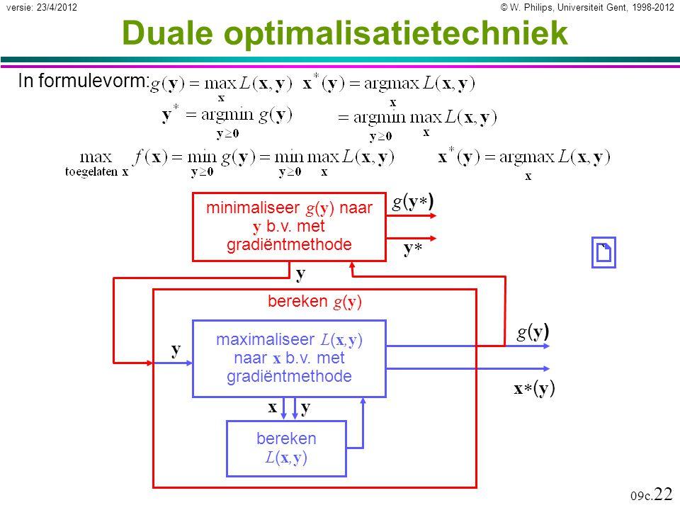 © W. Philips, Universiteit Gent, 1998-2012versie: 23/4/2012 09c. 22 Duale optimalisatietechniek In formulevorm: bereken L ( x,y ) x y maximaliseer L (