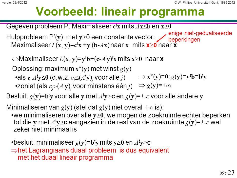 © W. Philips, Universiteit Gent, 1998-2012versie: 23/4/2012 09c. 23 Minimaliseren van g ( y ) (stel dat g ( y ) niet overal +  is): we minimaliseren