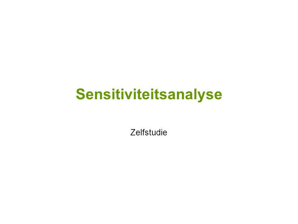 Sensitiviteitsanalyse Zelfstudie