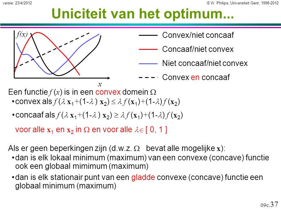 © W. Philips, Universiteit Gent, 1998-2012versie: 23/4/2012 09c. 37 Uniciteit van het optimum... Een functie f ( x ) is in een convex domein  convex
