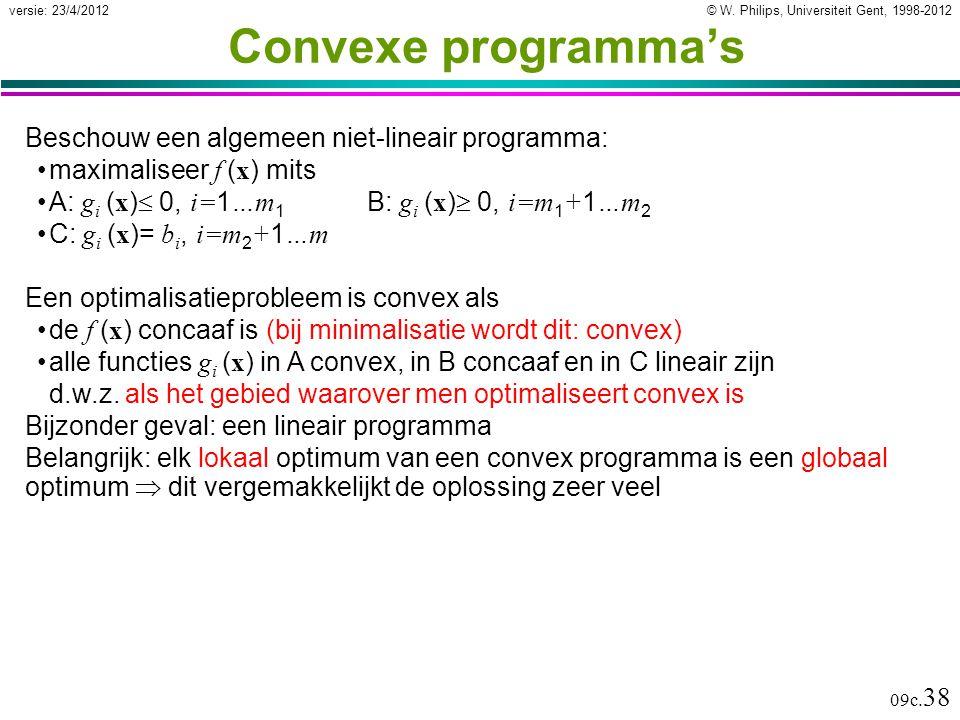 © W. Philips, Universiteit Gent, 1998-2012versie: 23/4/2012 09c. 38 Convexe programma's Beschouw een algemeen niet-lineair programma: maximaliseer f (