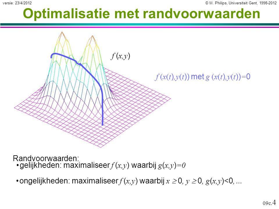 © W. Philips, Universiteit Gent, 1998-2012versie: 23/4/2012 09c. 4 Optimalisatie met randvoorwaarden Randvoorwaarden: gelijkheden: maximaliseer f ( x,