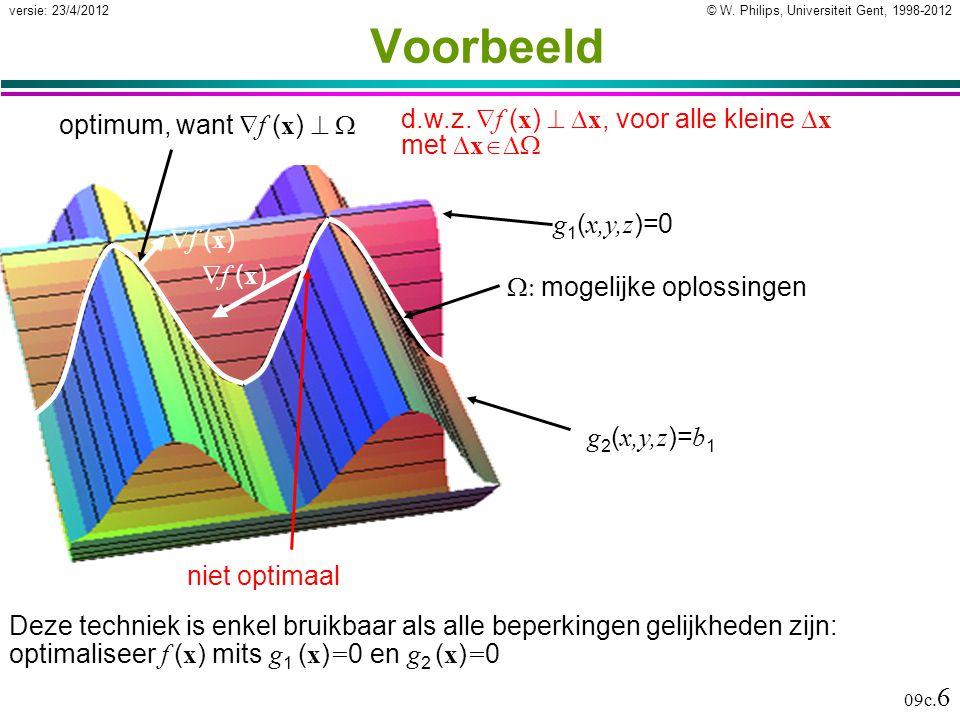© W. Philips, Universiteit Gent, 1998-2012versie: 23/4/2012 09c. 6 g 1 ( x,y,z )=0 g 2 ( x,y,z )= b 1 Voorbeeld Deze techniek is enkel bruikbaar als a