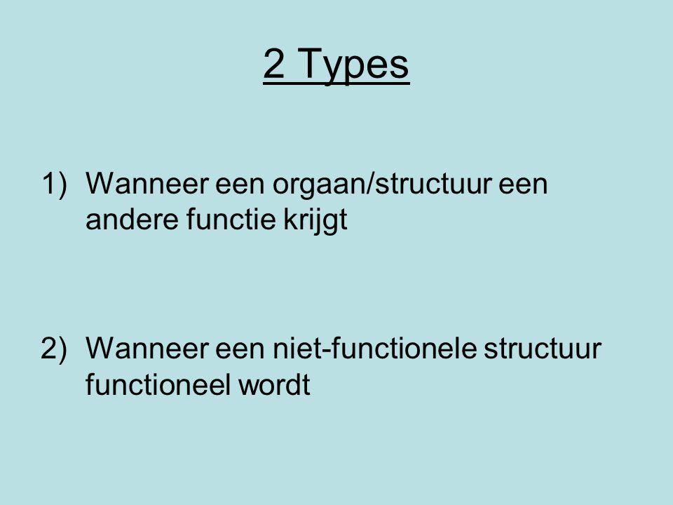 2 Types 1)Wanneer een orgaan/structuur een andere functie krijgt 2)Wanneer een niet-functionele structuur functioneel wordt