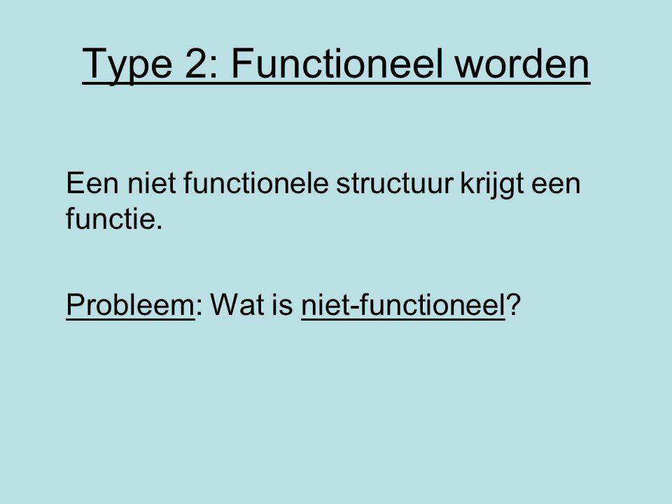 Type 2: Functioneel worden Een niet functionele structuur krijgt een functie. Probleem: Wat is niet-functioneel?