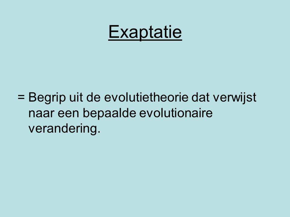 Exaptatie =Begrip uit de evolutietheorie dat verwijst naar een bepaalde evolutionaire verandering.