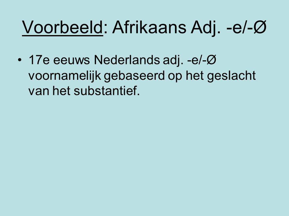 Voorbeeld: Afrikaans Adj. -e/-Ø 17e eeuws Nederlands adj. -e/-Ø voornamelijk gebaseerd op het geslacht van het substantief.