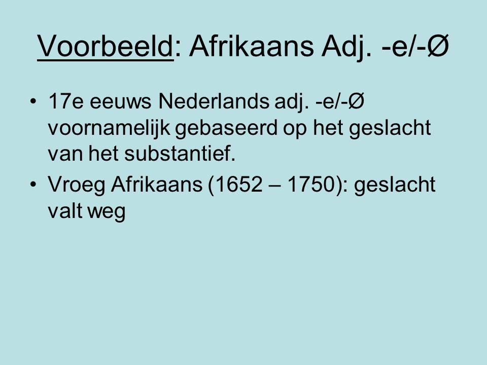 Voorbeeld: Afrikaans Adj. -e/-Ø 17e eeuws Nederlands adj. -e/-Ø voornamelijk gebaseerd op het geslacht van het substantief. Vroeg Afrikaans (1652 – 17