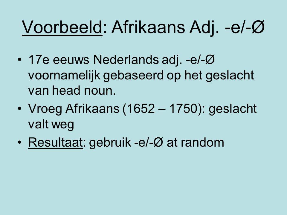 Voorbeeld: Afrikaans Adj. -e/-Ø 17e eeuws Nederlands adj. -e/-Ø voornamelijk gebaseerd op het geslacht van head noun. Vroeg Afrikaans (1652 – 1750): g