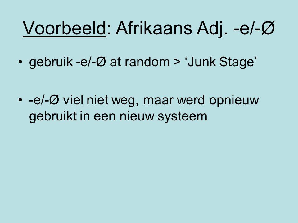 Voorbeeld: Afrikaans Adj. -e/-Ø gebruik -e/-Ø at random > 'Junk Stage' -e/-Ø viel niet weg, maar werd opnieuw gebruikt in een nieuw systeem