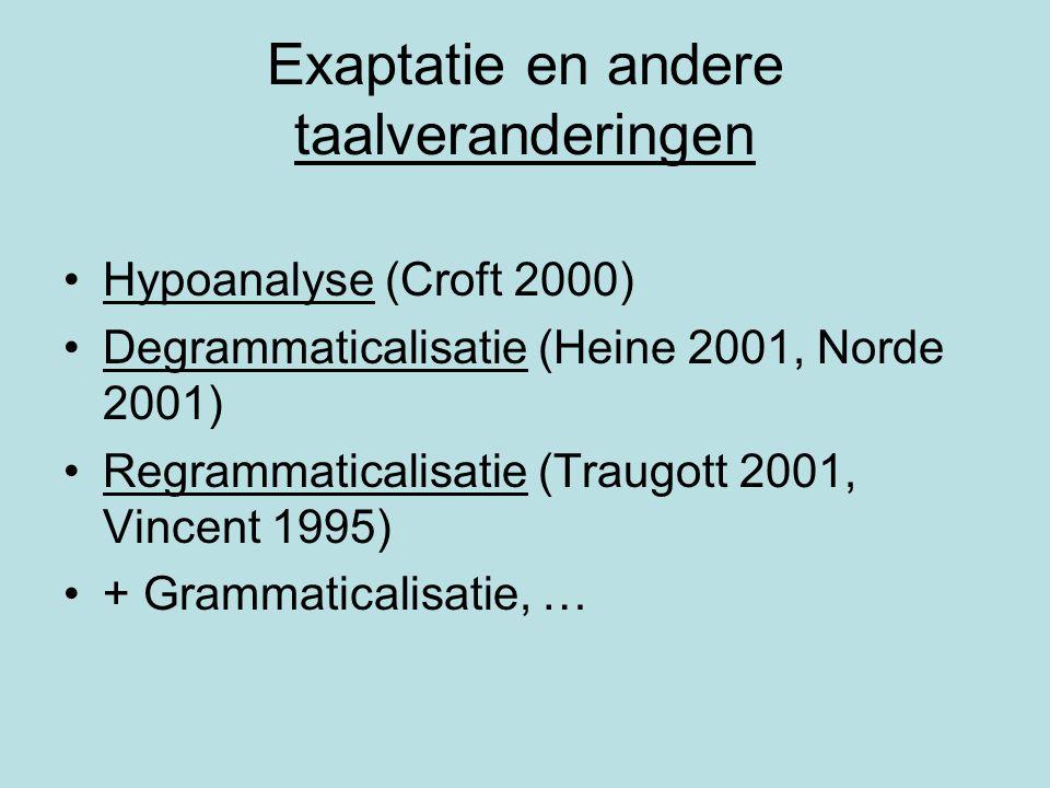 Exaptatie en andere taalveranderingen Hypoanalyse (Croft 2000) Degrammaticalisatie (Heine 2001, Norde 2001) Regrammaticalisatie (Traugott 2001, Vincen