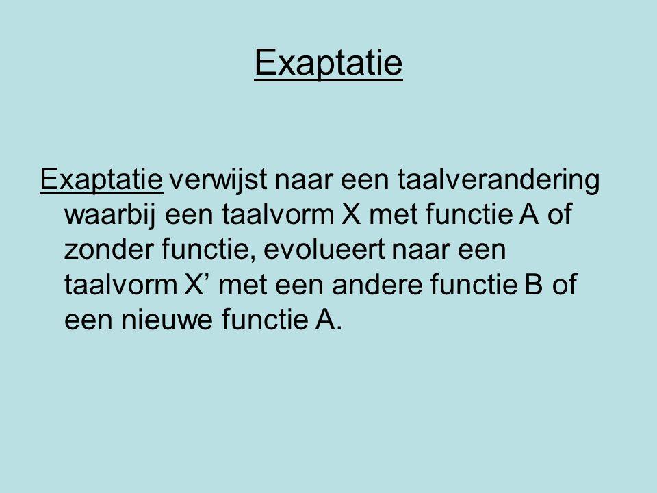 Exaptatie Exaptatie verwijst naar een taalverandering waarbij een taalvorm X met functie A of zonder functie, evolueert naar een taalvorm X' met een a