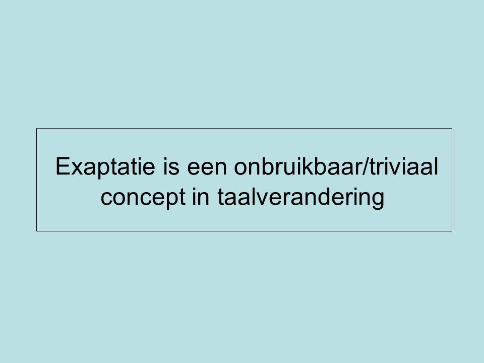 1.Exaptatie in evolutietheorie 2.Exaptatie in taalverandering: R.