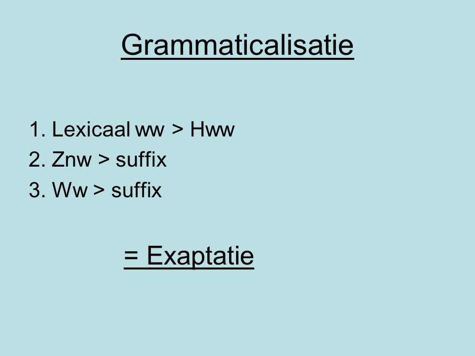 Grammaticalisatie 1. Lexicaal ww > Hww 2. Znw > suffix 3. Ww > suffix = Exaptatie