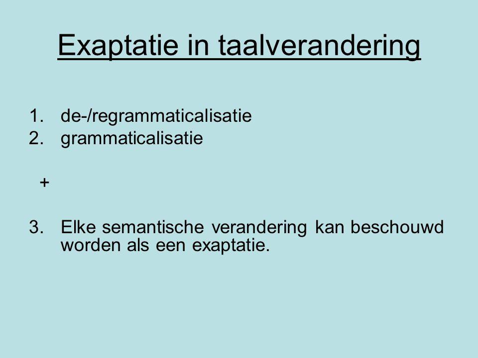 Exaptatie in taalverandering 1.de-/regrammaticalisatie 2.grammaticalisatie + 3.Elke semantische verandering kan beschouwd worden als een exaptatie.