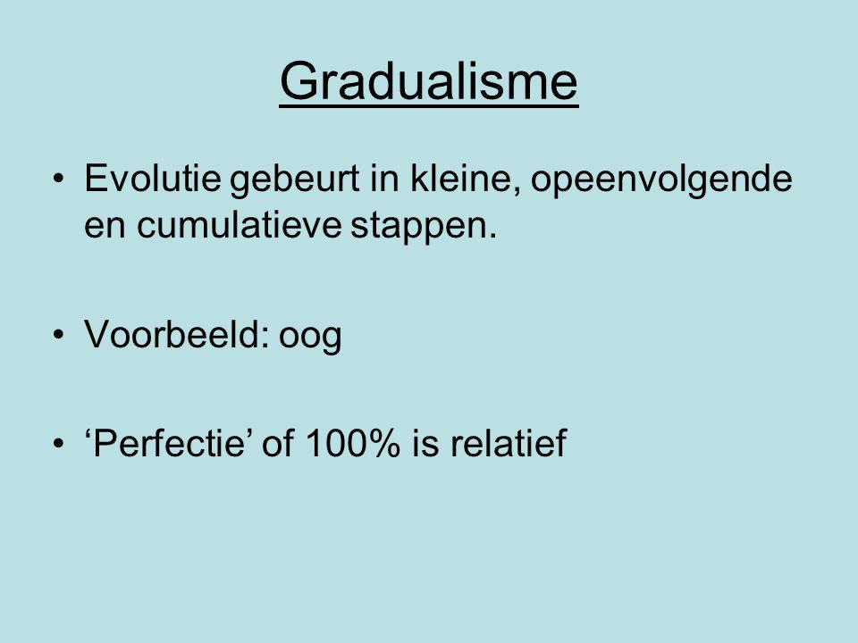 Gradualisme Evolutie gebeurt in kleine, opeenvolgende en cumulatieve stappen. Voorbeeld: oog 'Perfectie' of 100% is relatief