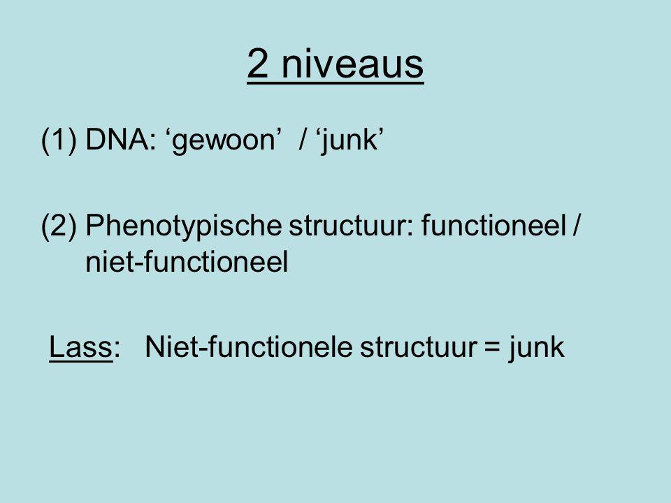 2 niveaus (1)DNA: 'gewoon' / 'junk' (2)Phenotypische structuur: functioneel / niet-functioneel Lass: Niet-functionele structuur = junk
