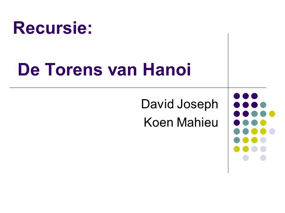 Recursie: De Torens van Hanoi David Joseph Koen Mahieu